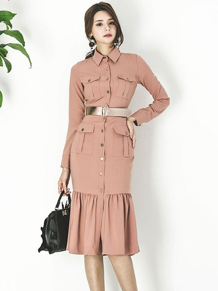 CM-EF091335 Women European Style Single-Breasted Fishtail Slim Coat Dress - Rust Red