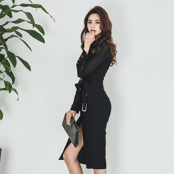 CM-EF091337 Women Elegant Seoul Style Tailored Collar Single-Breasted Chiffon Sleeve Dress