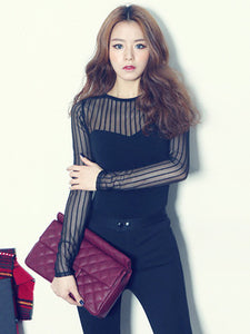 CM-TF091610 Women Casual Seoul Style Sexy Gauze Transparent Long Sleeve Slim T-Shirt - Black