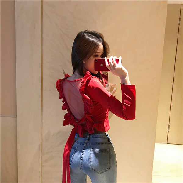 CM-TF092001 Women Casual Seoul Style Flouncing Collar Gauze Backless Blouse - Red