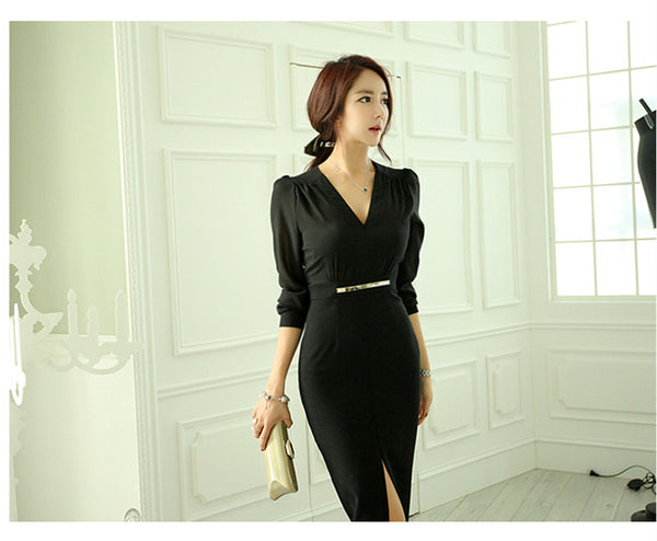 CM-DF092205 Women Elegant Seoul Style Fitted Waist V-Neck Split Long Dress - Black