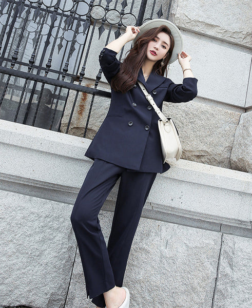 CM-SF092224 Women Casual Seoul Style Navy Blue Double-Breasted Slim Leisure Suits - Set