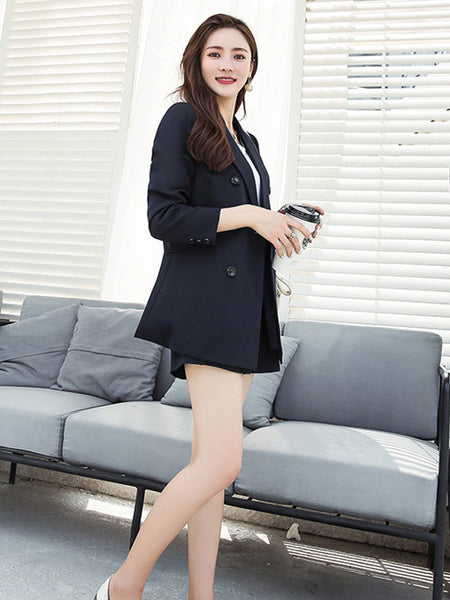 CM-SF092228 Women Seoul Style Navy Blue Double-Breasted Tailored Collar Short Suits - Set