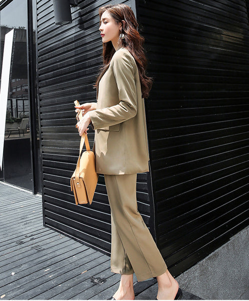 CM-SF092230 Women Elegant Seoul Style Camel Tailored Collar Slim Leisure Suits - Set