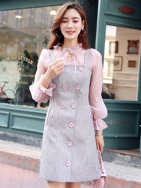 CM-SF092309 Women Lovely Gauze Blouse With Double-Breasted Tweed Dress - Set