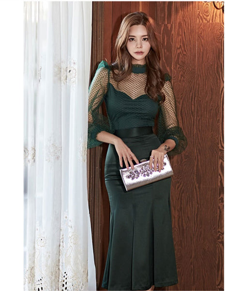 CM-SF092401 Women Elegant Seoul Style Lace Dots Blouse With High Waist Fishtail Long Skirt - Set