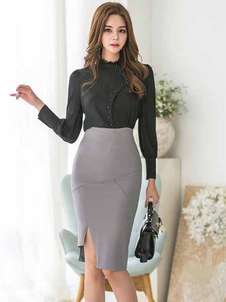 CM-SF092726 Women Seoul Style Single-Breasted Blouse With High Waist Skinny Skirt - Set