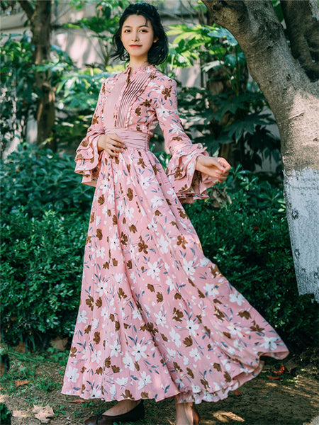 CM-EF093007 Women Charming Seoul Style High Waist Floral Flare Sleeve Maxi Dress