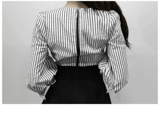 CM-SF093025 Women European Style V-Neck Stripes Puff Sleeve Blouse With Midi Skirt - Set