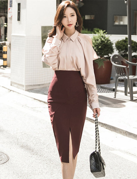 CM-SF100703 Women Seoul Style Off Shoulder Loosen Blouse With Skinny Midi Skirt - Set