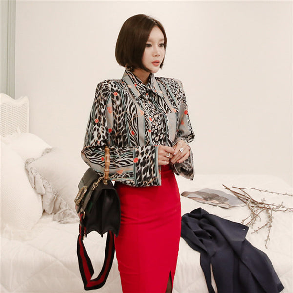 CM-SF110106 Women Elegant Stylish Leopard Floral Blouse With Skinny Midi Skirt - Set