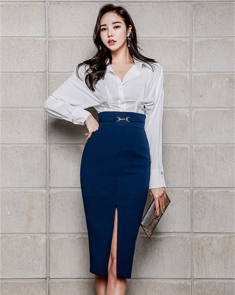 CM-SF111107 Women Elegant Seoul Style Loosen Blouse With Split Bodycon Midi Skirt - Set