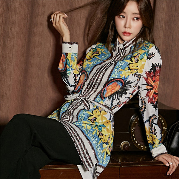 CM-SF111225 Women Casual Seoul Street Style Loosen Floral Blouse With Straight Long Pants - Set