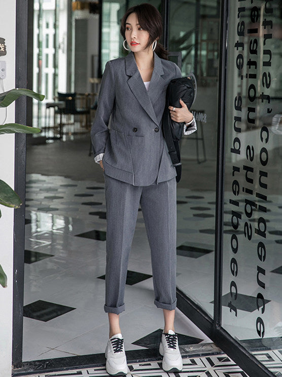 CM-SF111307 Women Elegant Seoul Style Gray Tailored Collar Slim Leisure Suits - Set
