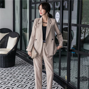 CM-SF111307 Women Elegant Seoul Style Khaki Tailored Collar Slim Leisure Suits - Set