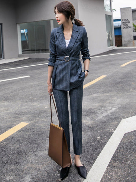 CM-SF111308 Women Elegant Classic Style Tailored Collar Stripes Skinny Leisure Suits - Set