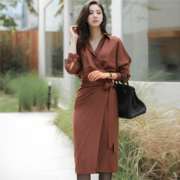 CM-DF112013 Women Casual Seoul Style Tie Waist Shirt Collar Slim Long Sleeve Dress - Caramel