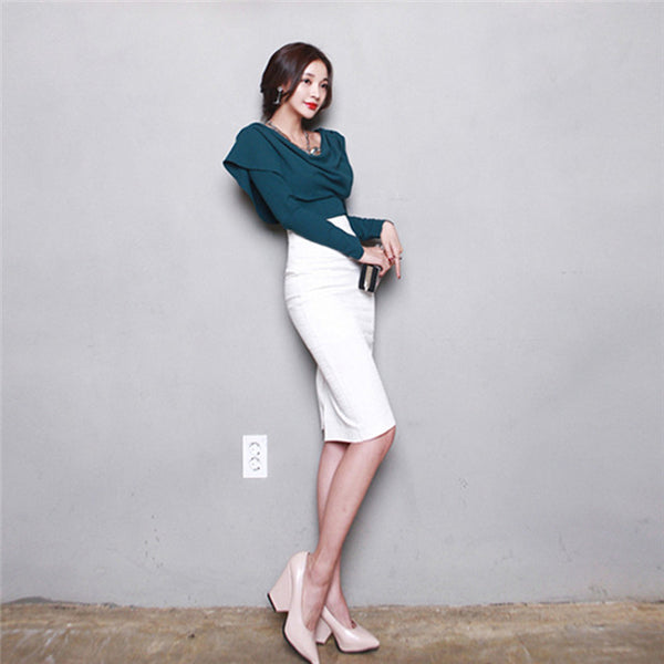 CM-SF112227 Women Charming Seoul Style Heaps Collar Blouse With Slim Midi Skirt - Set