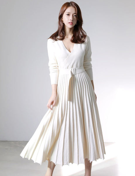 CM-DF112610 Women Preppy Seoul Style Long Sleeve V-Neck Pleated Knitting Midi Dress - Beige