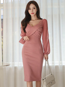 CM-DF112819 Women Elegant Seoul Style Cross V-Neck Gauze Sleeve Bodycon Dress - Pink