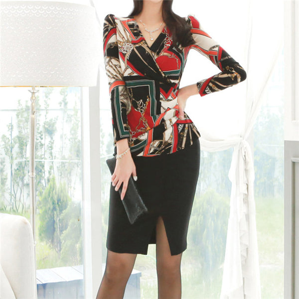CM-SF112924 Women Casual Seoul Style V-Neck Chain Blouse With Split Midi Skirt - Set