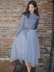 CM-SF120406 Women Casual Seoul Style Blue Knit Blouse With Gauze Fluffy Skirt - Set
