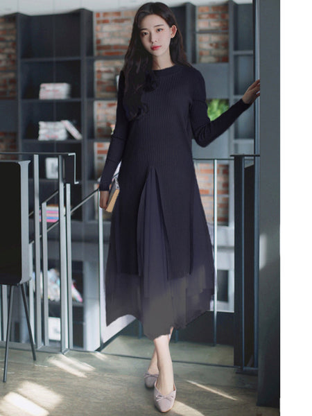 CM-SF120406 Women Casual Seoul Style Black Knit Blouse With Gauze Fluffy Skirt - Set
