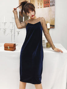 CM-SF120411 Women Elegant Stylish Hollow Out Blouse With Velvet Straps Dress - Set