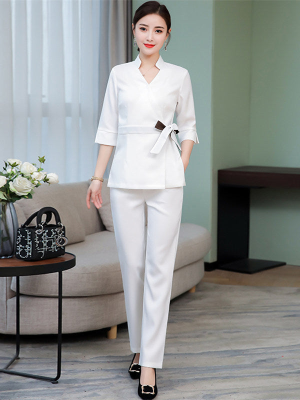 CM-SF120601 Women Elegant Modern Tie Waist Mid-Sleeve Top With Elastic Waist Long Pants - Set