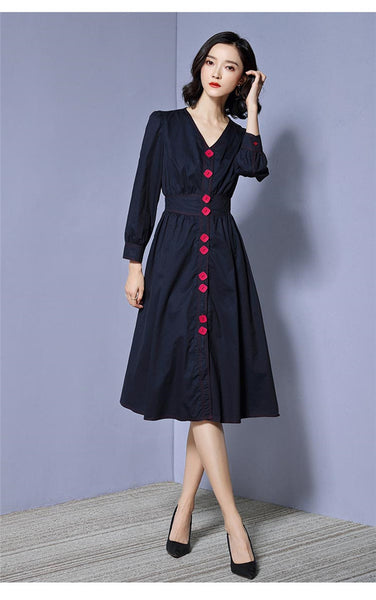 CM-DF120630 Women Casual Seoul Style Single-Breasted V-Neck A-Line Dress - Navy Blue