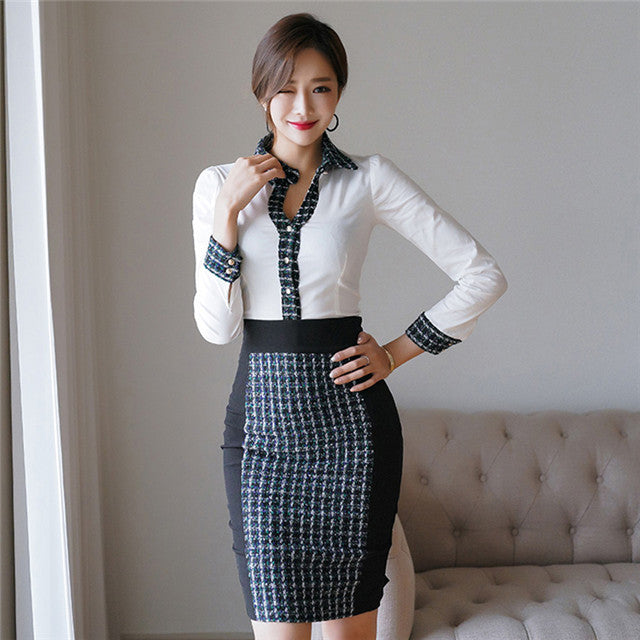 CM-SF120722 Women Elegant Seoul Style Collar Long Sleeve Blouse With Tweed Midi Skirt - Set