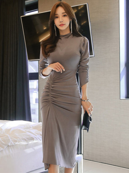 CM-DF120734 Women Casual Seoul Style Stand Collar Pleated Skinny Long Sleeve Dress