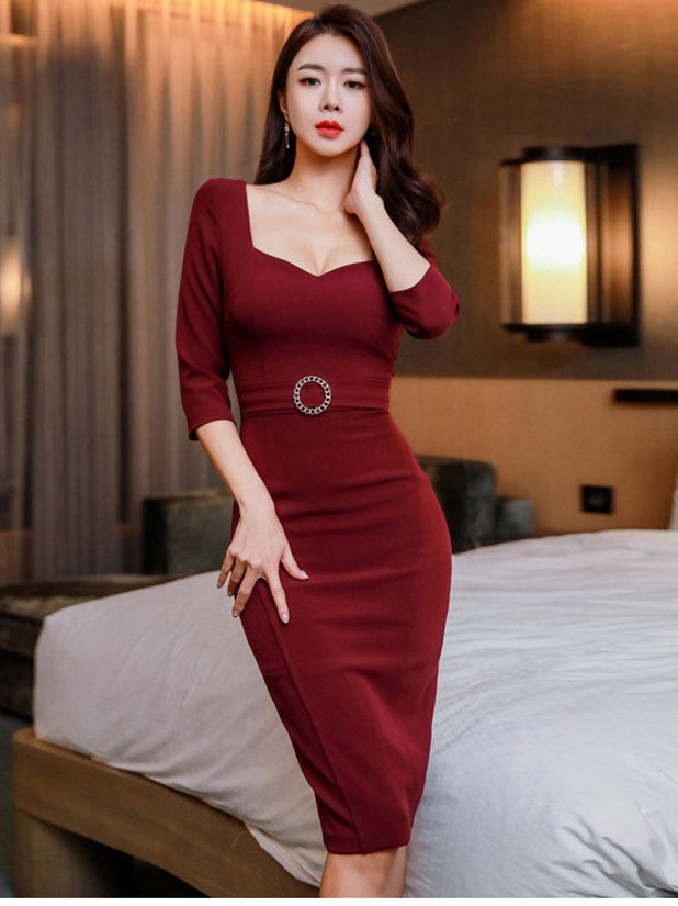 CM-DF120908 Women Casual Seoul Style 3/4 Sleeve Low Bust Fitted Waist Skinny Dress - Wine Red