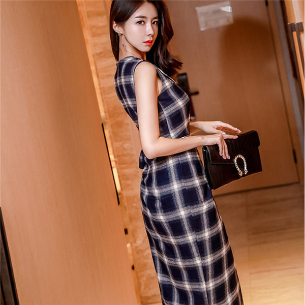 CM-DF121303 Women Casual Seoul Style V-Neck Tie Waist Plaids Bodycon Tank Dress