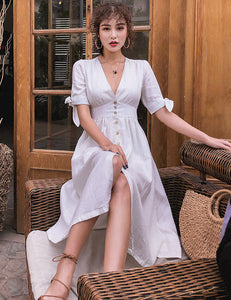 CM-DF121703 Women Casual Preppy Style V-Neck Single-Breasted Linen Dress - White
