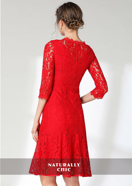 CM-DF121722 Women Casual European Style Round Neck Fishtail Bodycon Lace Dress - Red