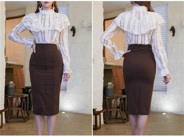 CM-SF121809 Women Elegant Seoul Style Flouncing Lace Blouse With Skinny Midi Skirt - Set