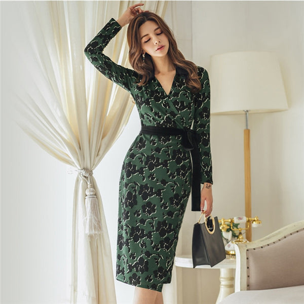 CM-DF121828 Women Casual Charming Seoul Style V-Neck Tie Waist Floral Bodycon Dress