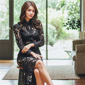 CM-SF122019 Women Charming Seoul Style Lace Hollow Out Top With High Waist Fishtail Skirt - Set