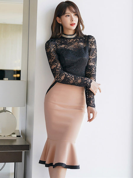 CM-SF122029 Women Elegant Seoul Style Lace Slim Blouse With Fishtail Skinny Skirt - Set