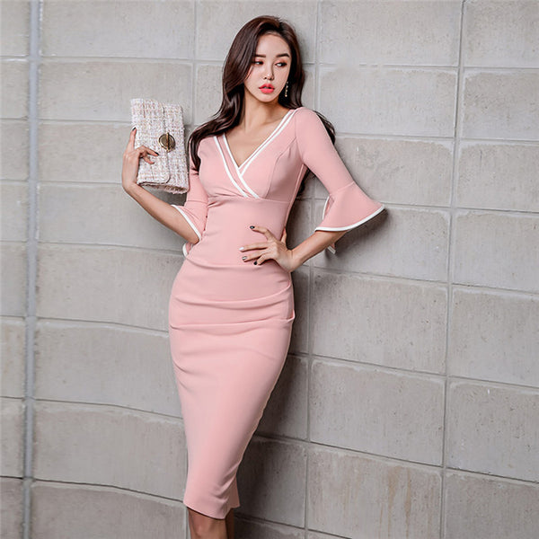 CM-DF122229 Women Seoul Style Spring V-Neck High Waist Flare Sleeve Skinny Dress - Pink