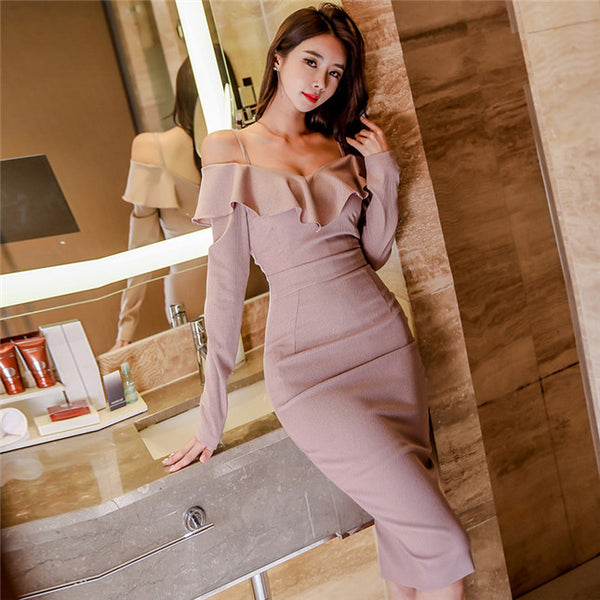 CM-DF122426 Women Modern Seoul Style Flouncing Boat Neck Skinny Long Sleeve Dress - Pink