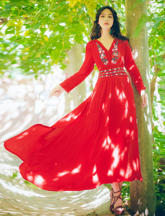 CM-DF122428 Women Casual Bohemian Style Floral Embroidery Split Maxi Dress - Red
