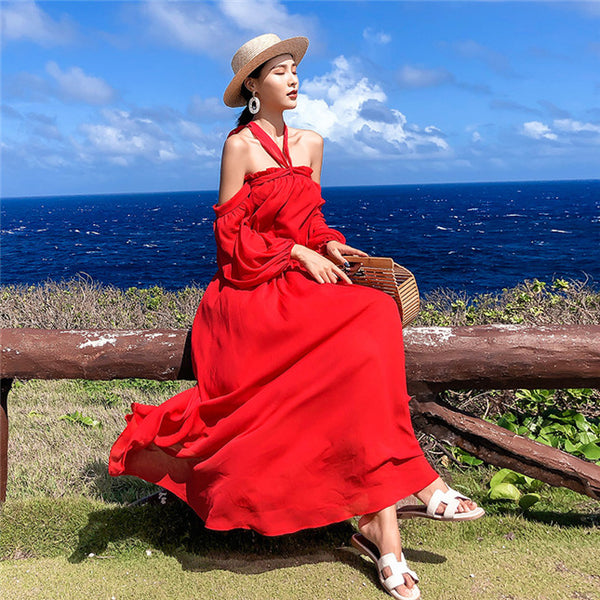 CM-DF010528 Women Casual Seoul Style Boat Neck Chiffon Maxi Dress - Red