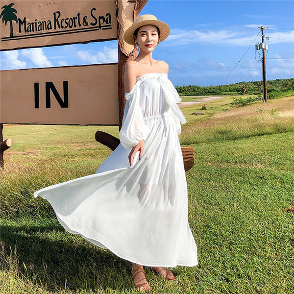 CM-DF010528 Women Casual Seoul Style Boat Neck Chiffon Maxi Dress - White