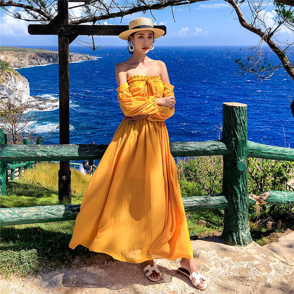 CM-DF010528 Women Casual Seoul Style Boat Neck Chiffon Maxi Dress - Yellow