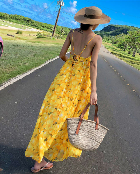 CM-DF010530 Women Casual Bohemian Style High Waist Backless Dress - Yellow