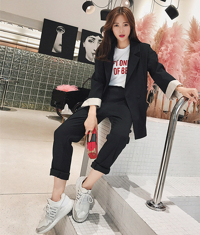 CM-SF010605 Women Elegant Modern Seoul Style Black Tailored Collar Leisure Suits - Set