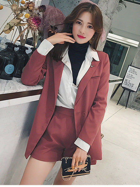 CM-SF010606 Women Elegant Seoul Style Turndown Collar Short Leisure Suits - Set