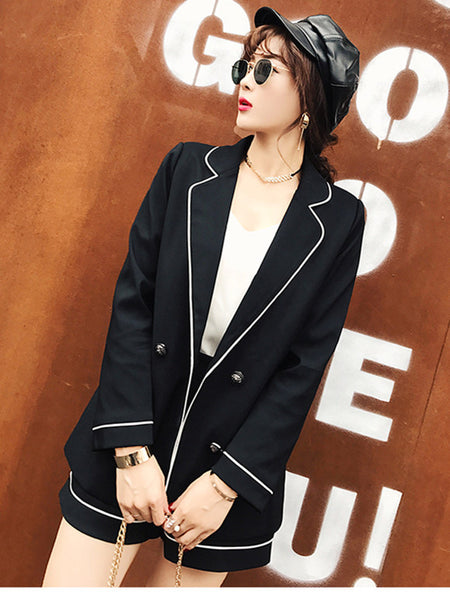 CM-SF010610 Women Elegant Seoul Style Tailored Collar Double-Breasted Short Suits - Set